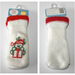 Kalėdinės kojinytės su nedideliu defektu.