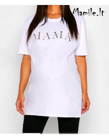 """Balti marškinėliai """"MAMA"""". Dydžiai M-L"""