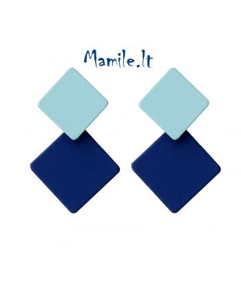 """Geometriniai auskarai """"DVIGUBI KVADRATAI DARK AND SOFT BLUE"""""""