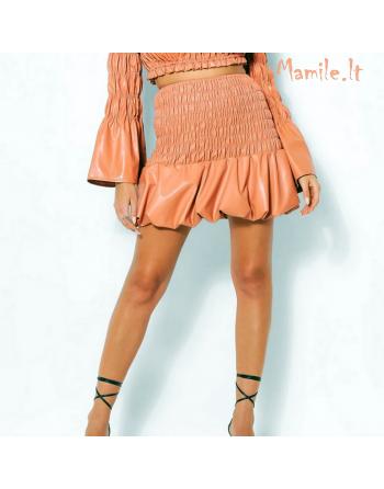 """Persikų spalvos dirbtinės odos sijonai """"PRISCILA"""". Dydžiai S-M"""