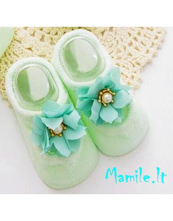 """Puošnios kojinės-tapukai kūdikiams """"MINTARĖ"""". Dydžiai 0-6 mėn."""