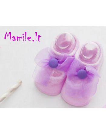 """Puošnios kojinės-tapukai kūdikiams """"VIJOLINA"""". Dydžiai 0-6 mėn."""