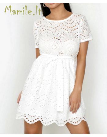 """Balta siuvinėta suknelė """"ELEONORA"""". Dydžiai S/M"""