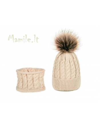 """Šiltos kepurės su movomis kūdikiams """"DŽOJ"""". Dydžiai 0-6 mėn."""
